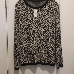 Cheetah print Sweater, White/Black,Xl,Crew neck